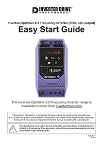Invertek Optidrive E3 Easy Start Guide (IP20, 3ph output)